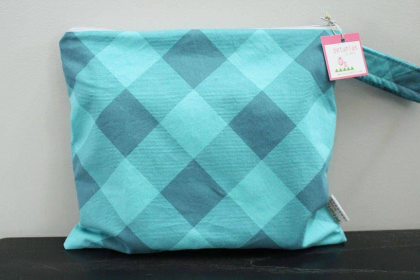 Wet Bag Wetbag Diaper ICKY Proof Teal Plaid Gym Swim Cloth Accessories Zipper Gift Newborn Baby Kids Beach