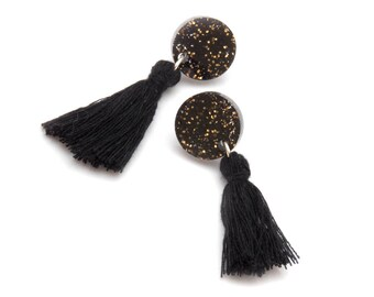 Black and Gold Glitter Round Tassel Earrings - Black Glitter Dangle Earrings - Black Tassel Round Stud Earrings - Laser Cut Acrylic Studs