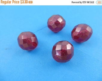 20% Off Sale 16mm Czech fire polished round glass beads transparent fuschia 4 pieces6560
