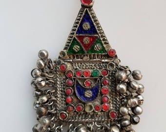 Afghan pendant, belly dancing, vintage pendant, Vintage kuchi pendant, Kuchi jewelry, Tribal pendant