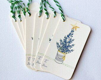Texas bluebonnets holiday gift tags - Christmas tree gift tags - wildflower Christmas gift wrap - Bluebonnet tree - Texas Christmas
