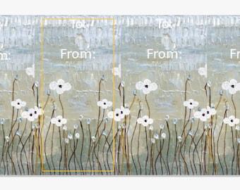 Cherry Blossom Original Artwork Gift Tags Set of Four Modern Customize Unique Flowers Landscape