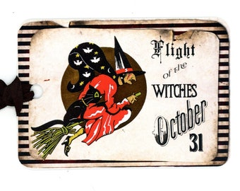 Vintage Witch Tags, Halloween Tags, Witch on Broom, October 31, Flight of the Witches, Black and Orange, Treat Bag Tags, Black Cat, Vintage