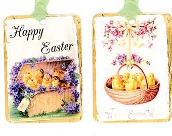 Gift tags seam binding and note cards by bluebirdlane on etsy easter chicks gift tags vintage easter violets and chicks easter basket yellow negle Choice Image