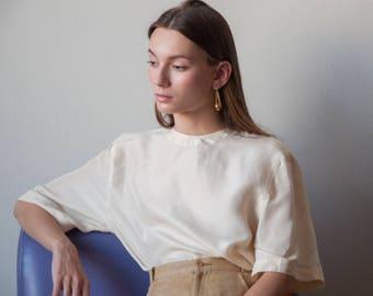 silk cream white tee / silk boxy blouse / minimalist t shirt / s / m / 2737t / B18