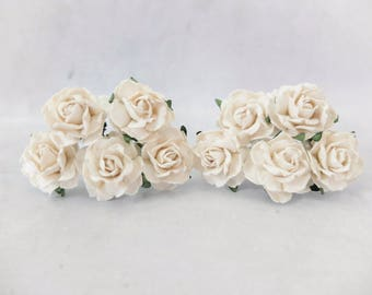"1"" off white mulberry paper roses (style 1)"