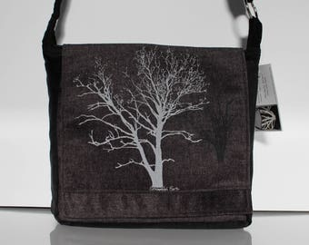 Sycamore and Walnut Tree Messenger Bag Black Gray 10 x 10
