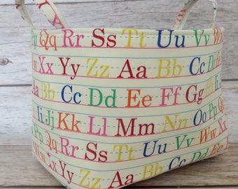 READY TO SHIP Storage Organization Fabric Basket Container Organizer Bin - Nursery Decor- Multi Color Letters on Cream Fabric - Medium Size
