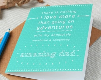 SALE Amazing Dad Father's Day Personalised Card - Personalised Card - Father's Day Card - Dad Card - Great Adventure - Doodle Card
