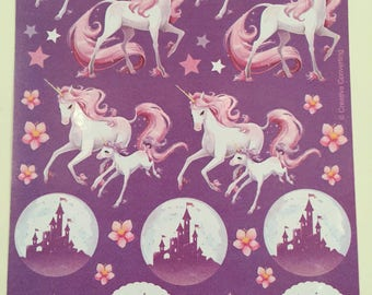 Happy Birthday Unicorns, Vintage, Single Sticker Sheet, 1980's, Scrap Booking, Sticker Collecting, Hallmark, Craft ~ The Pink Room ~ SS002