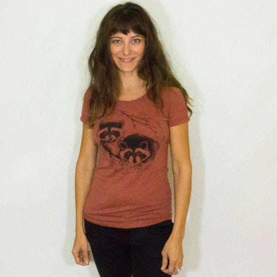 Women's Raccoon Tee Shirt Cute Animal Tee