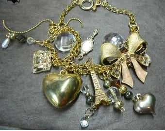 Gold Ribbon and Hearts Charm Bracelet
