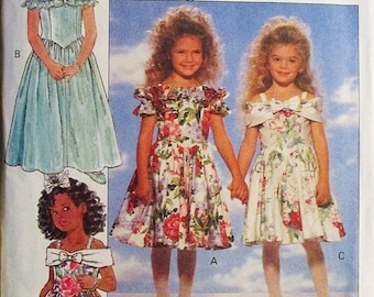 60% OFF SALE 1990s Childrens Sewing Pattern Butterick 6093 Childrens Dress Pattern Size 5, 6, 6X Uncut