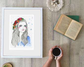 Portrait Print of a Young Woman Sweet Pretty Beautiful Floral Crown Hairpiece Blue Stars Long Flowing Hair Red Rosy Cheeks Archival Modern