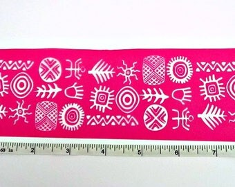 Bracelet Cuff Tribal Silkscreen - Long -  for polymer clay, paper, fabric, glass, metal and more
