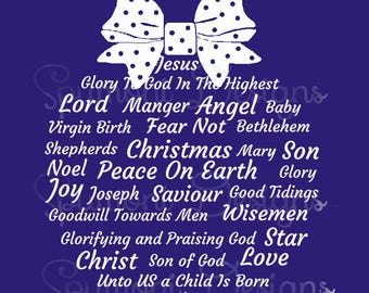 Commercial Use Christmas Story Word Art digital SVG cut files with TWO bow designs Cricut & Silhouette Christian Gift T Shirt Clothes Pillow