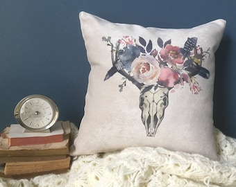 boho skull throw pillow/ navy and blush/ feathers and florals