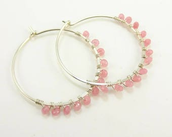 Handmade Sterling Silver Hoops with Rubies  - Prima Donna Beads