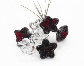 Boro Glass Head Pins Handmade Lampwork Red Clear Bellflower - Prima Donna Beads
