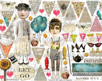 ART TEA LiFE Happy Paper Dolls Mini Banners Collage Sheet digital file printable download decoupage scrapbook journal card tag garland flags
