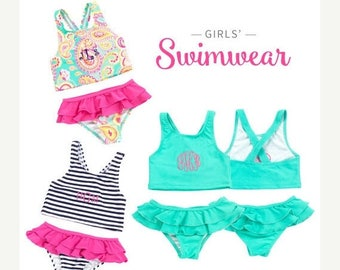 ON SALE Monogram Bathing Suit - Toddler Swim Suit - Monogrammed Preppy - Monogrammed Swimsuit - Kids Swim Top - Personalized 2 Piece Swim Su