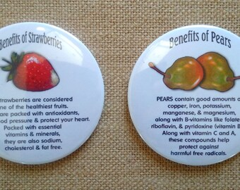 "Nutrition, Round Fridge Magnets, 3"", Set of TWO: Benefits of Strawberries, Benefits of Pears, Original Art, Fruit, Health, Healing Foods"