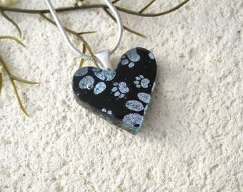 Petite Paw Heart Necklace, Paw Prints Necklace, Fused Glass Jewelry, Paw Heart Pendant, Dog Paws, Cat Paws, ccvalenzo, OOAK, 081617p100