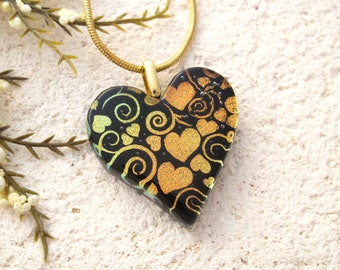 OOAK Handmade Golden Heart, Heart Jewelry, Fused Glass Jewelry, Heart Pendant, Dichroic Jewelry, ccvalenzo, Handmade Jewelry, 122717p101