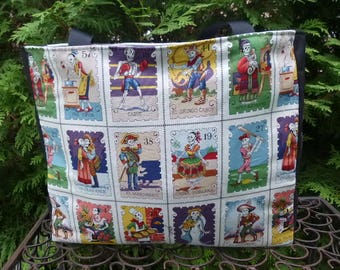Day of the Dead tote bag, knitting tote bag, Cartas Marcadas, The medium Fleur wide