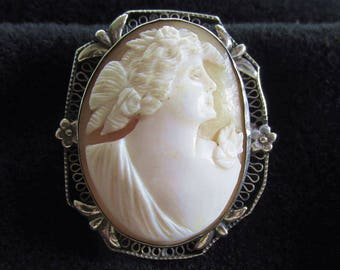 Antique Vintage Carved Shell Cameo Brooch Pin Sterling Silver Mount Frame