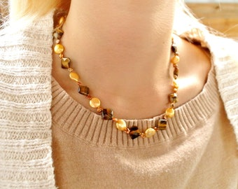 tigers eye, freshwater pearls, gold-filled chain necklace N21