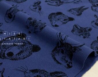 Japanese Fabric Kokka Trefle Woodland Animals knit - blue - 50cm