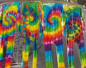 Tie Dyed Adult Long Johns - Small, Medium, Large, XL, 2XL