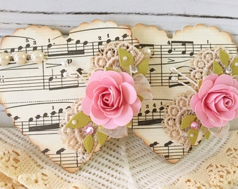 Vintage Music Paper Lace Heart Shabby Pink Handmade Paper Rose Flower Embellishments