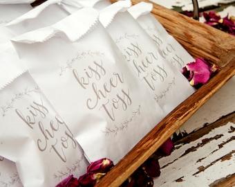 Wedding Petal Toss, Small send off Bags - Kiss cheer toss Design -  Rose Petal Toss - Spring Wedding - 20 White Bags