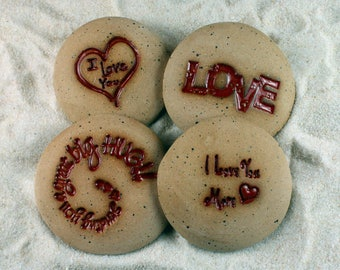 Painted Rocks, I Love You, I Love You More, Love, Sending You a Great Big Hug, Set of 4 Ceramic Message Stones, Pocket Stones, Art, Rocks