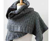 Rococo Merino Wool Hand Knit Shawl in CHARCOAL GREY, Luxurious Merino Wool Wrap, Women's Fall Winter Scarf Fashion, Hygge, Warm, Grey, Gray