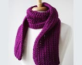 Chunky Lace Merino Wool Hand Knit Scarf in Fuchsia Purple, Lace, Winter, Hygge, Wrap, Berry, Bright, Warm, Made in New York