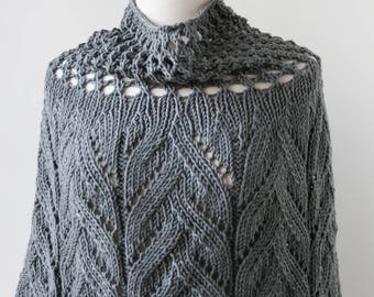 Charcoal GREY Sequoia Merino Wool Knit Capelet, Chunky, Lace, Hand Knit, Made in New York, Soft, Hygge, Sweater, Poncho, Wrap, Cape, Winter