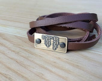 I LOVE YOU Morse code bracelet | leather wrap bracelet | brass | copper | gift for him or her | Valentine's Day