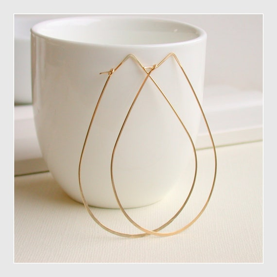 Large Teardrop Hoops