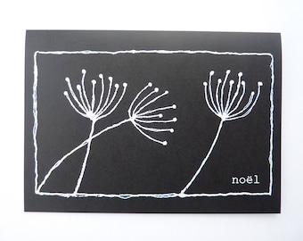 "Printed Christmas Card - ""Three Seed Heads"" - Noël Card, Holiday Greetings"