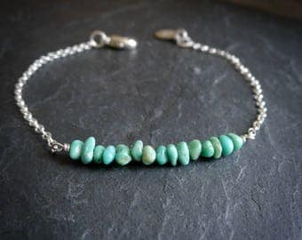 Tiny Turquoise Nugget Skinny Bracelet in Sterling Silver