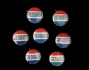 Vintage Campaign Buttons, Goldwater, 1964, Barry Goldwater, GOP, Presidential Campaign, Lot of 7