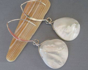 Mother of Pearl Sterling Silver Long Earrings