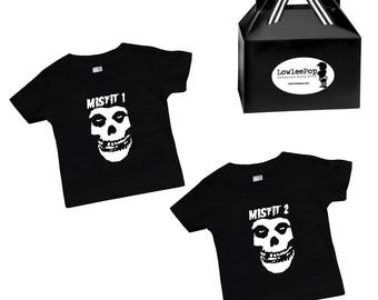 Twins siblings Misfit 1 and 2 T-Shirts Punk Rock Baby Rockstar Kit GIFT READY