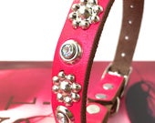 Hot Pink Leather Cat Collar with Crystal Rivets and Silver Flowers, Eco-Friendly Leather, Size to fit a 8-10in Neck, Rhinestone Collar