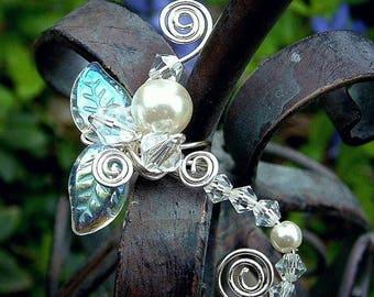 ON SALE Ear Cuff Fairy Crystal, No Piercing, Fairy Jewelry, Fantasy Vine Wrap Enchanted Forest, Bridal Ear Cuff