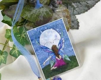 Fairy Art ~ Fairy Bookmark ~ Fairy Painting ~ Full Moon Painting ~ Fantasy Bookmark ~ Fantasy Art Bookmark ~ Fairy Art Bookmark ~ Fairy Wish