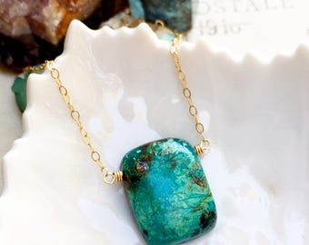 R a i n f o r e s t ...Chrysocolla, rutilated quartz, gold necklace, peace, boho, throat chakra, minimalist, Taurus FREE SHIPPING